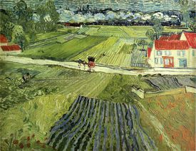Landscape at Auvers after rain (Landscape with Carriage and Train) (painting by Vincent van Gogh, 1890)
