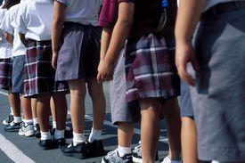 School children in queue