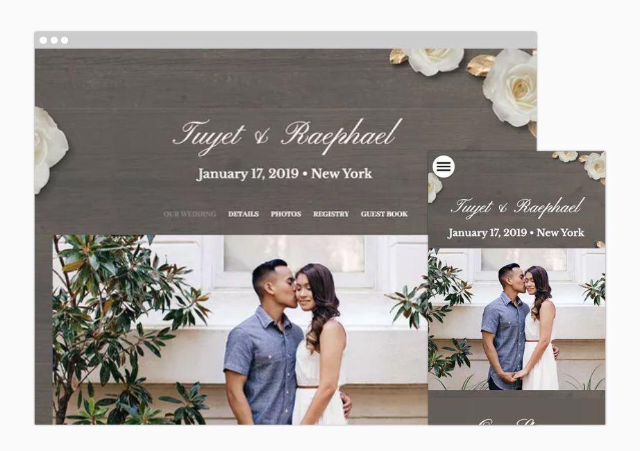 A wedding website sample on desktop and mobile