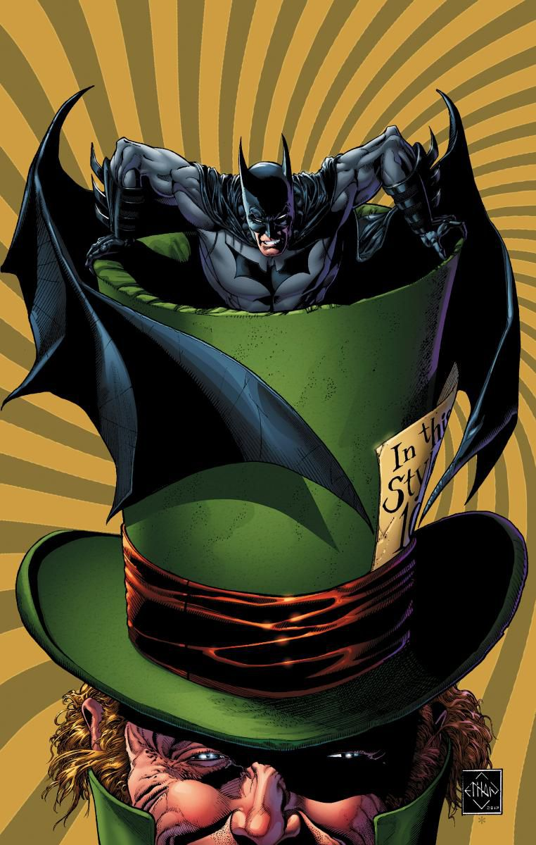 The Mad Hatter with batman in his hat.