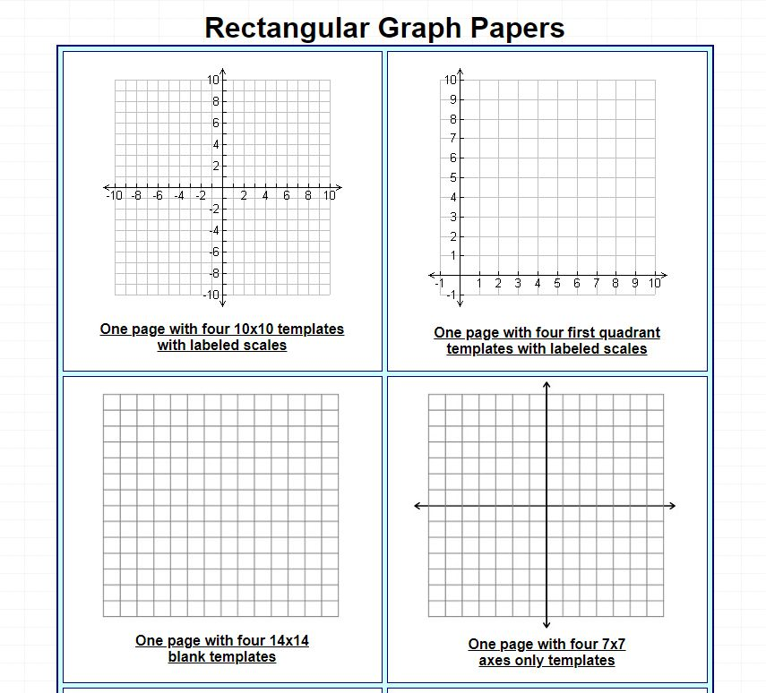 A selection of graph paper