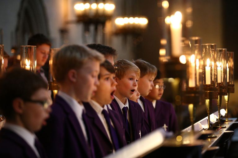 Chorister Rehearse For A Festival of Nine Lessons and Carols At Kings College Cambridge