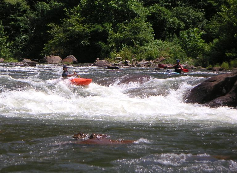 Kayaking in white river rapids