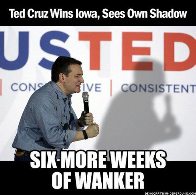 Ted Cruz Wins Iowa, Sees Shadow