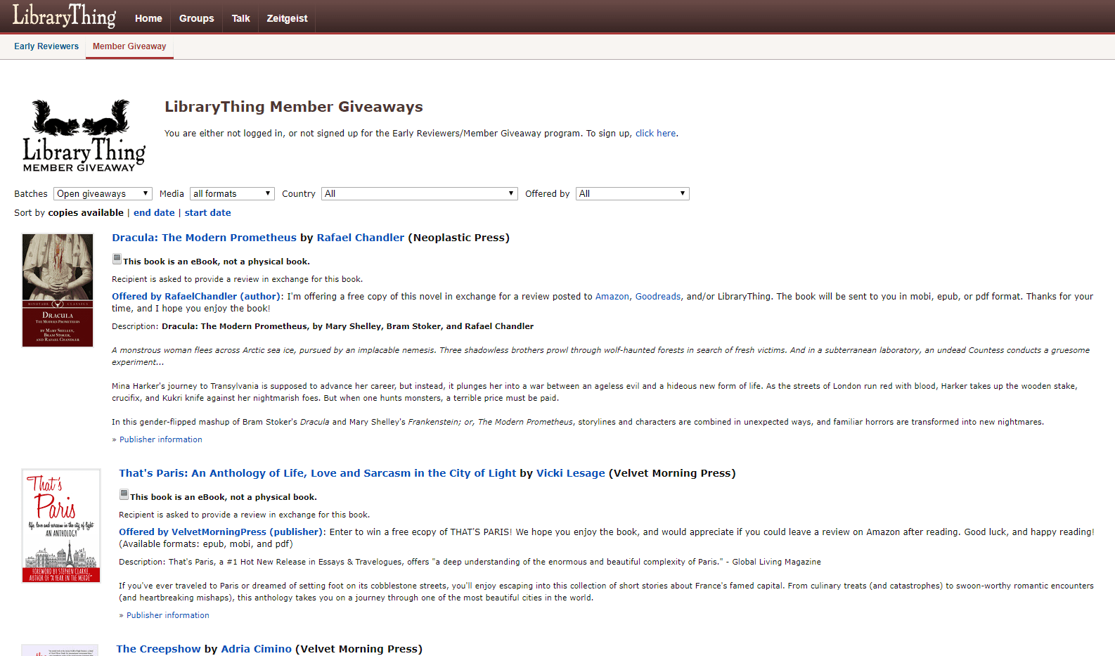 Image of a Giveaway Page at LibraryThing