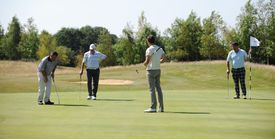 Gary Wills of Hellidon Lakes Golf Club putting on the 9th green during The Lombard Trophy - Regional Qualifier
