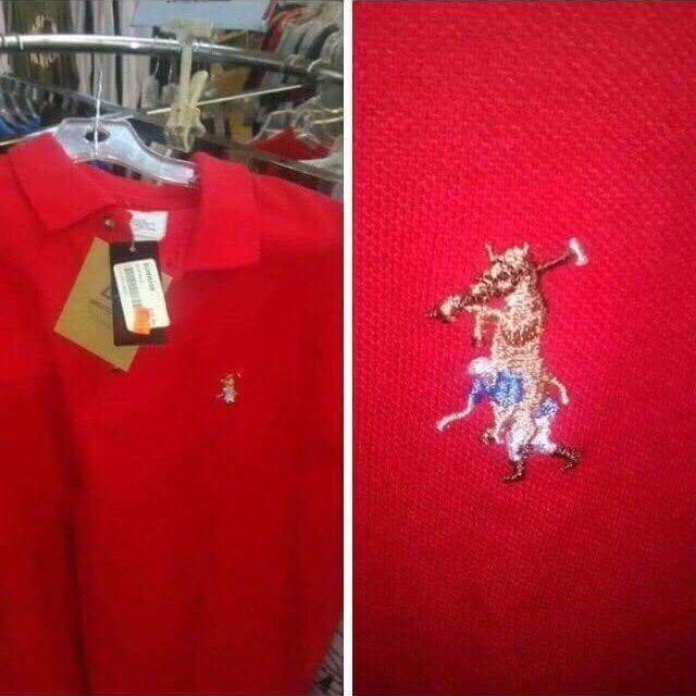 knock off Polo shirt with emblem of horse riding polo player