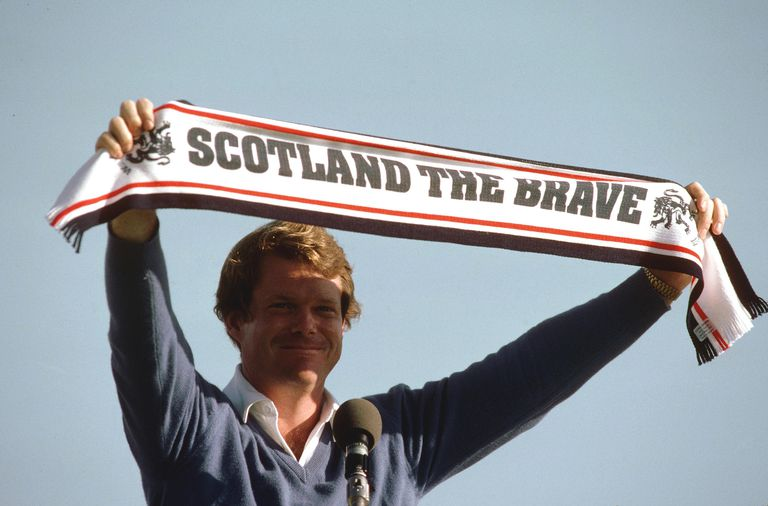 Tom Watson of the USA celebrates after winning the British Open played at Royal Troon in Scotland