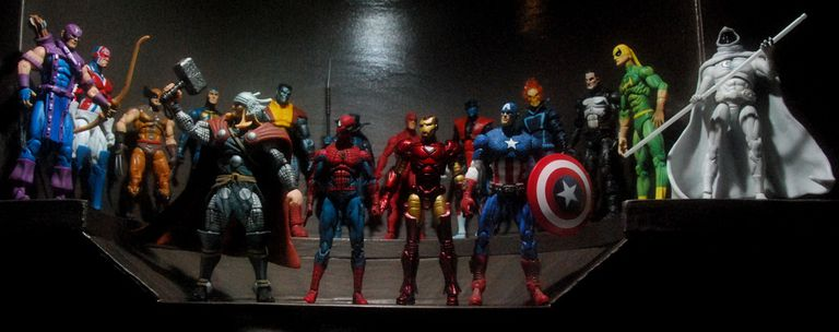 Marvel heroes standing in a row