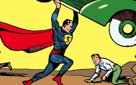 Section of comic cover of Action Comics #1 (1938)