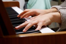 A person playing piano