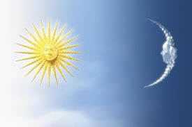 Illustration of the sun and moon