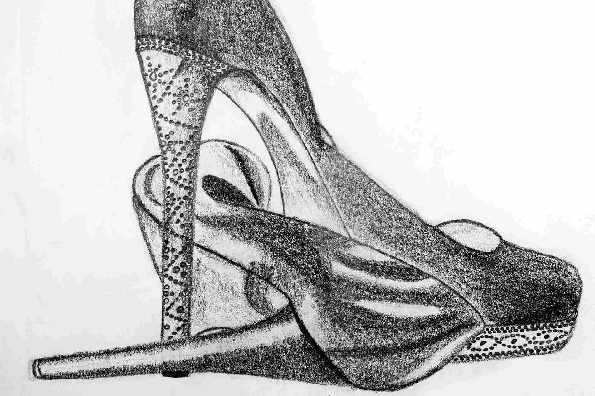 Charcoal drawing of high heels