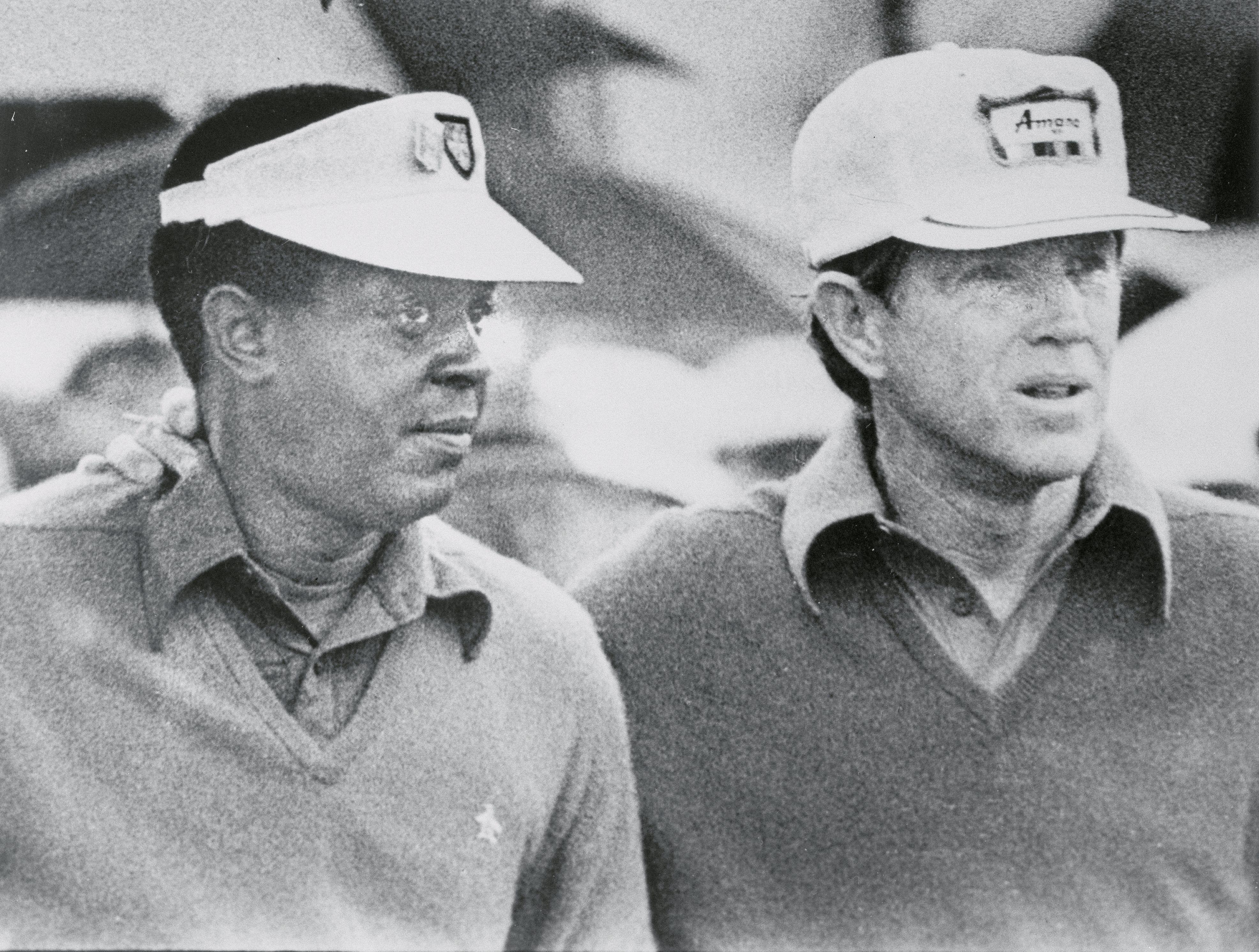 Lee Elder and Gene Littler prepare to tee off in the 1975 Masters
