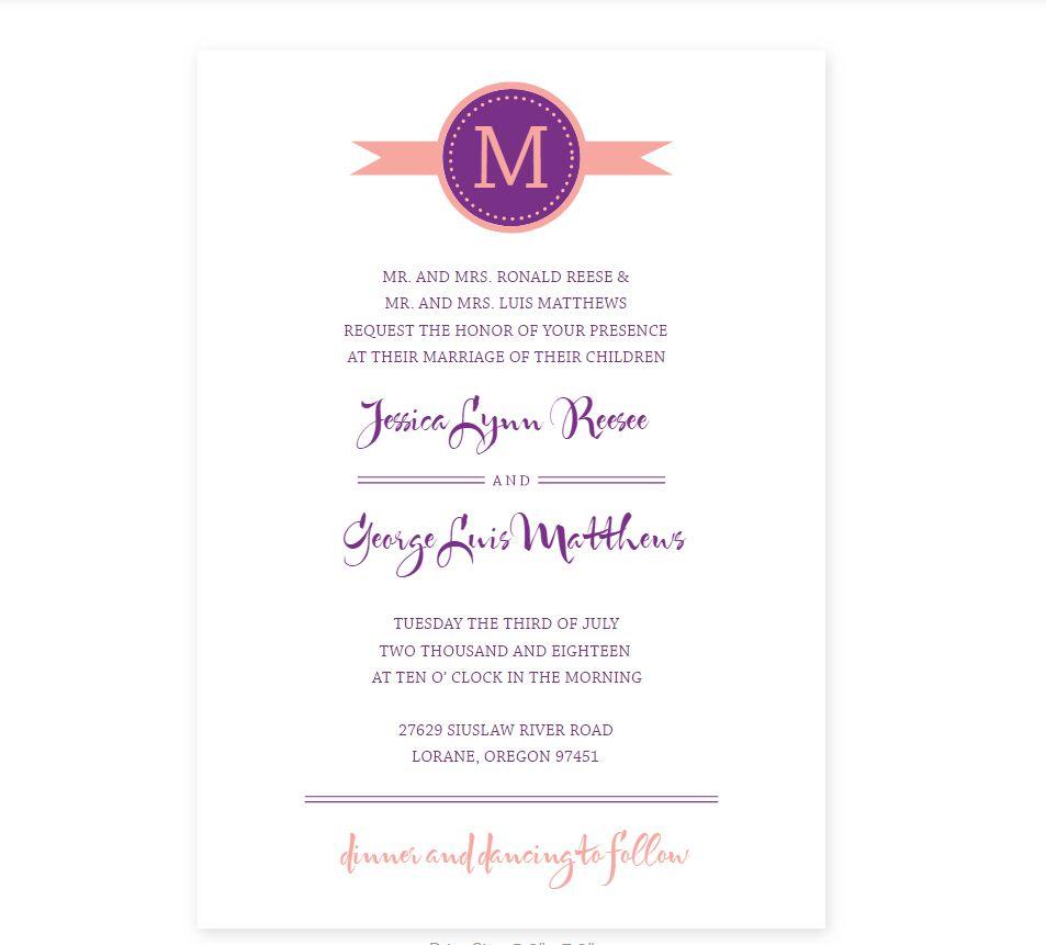 A purple and orange wedding program template
