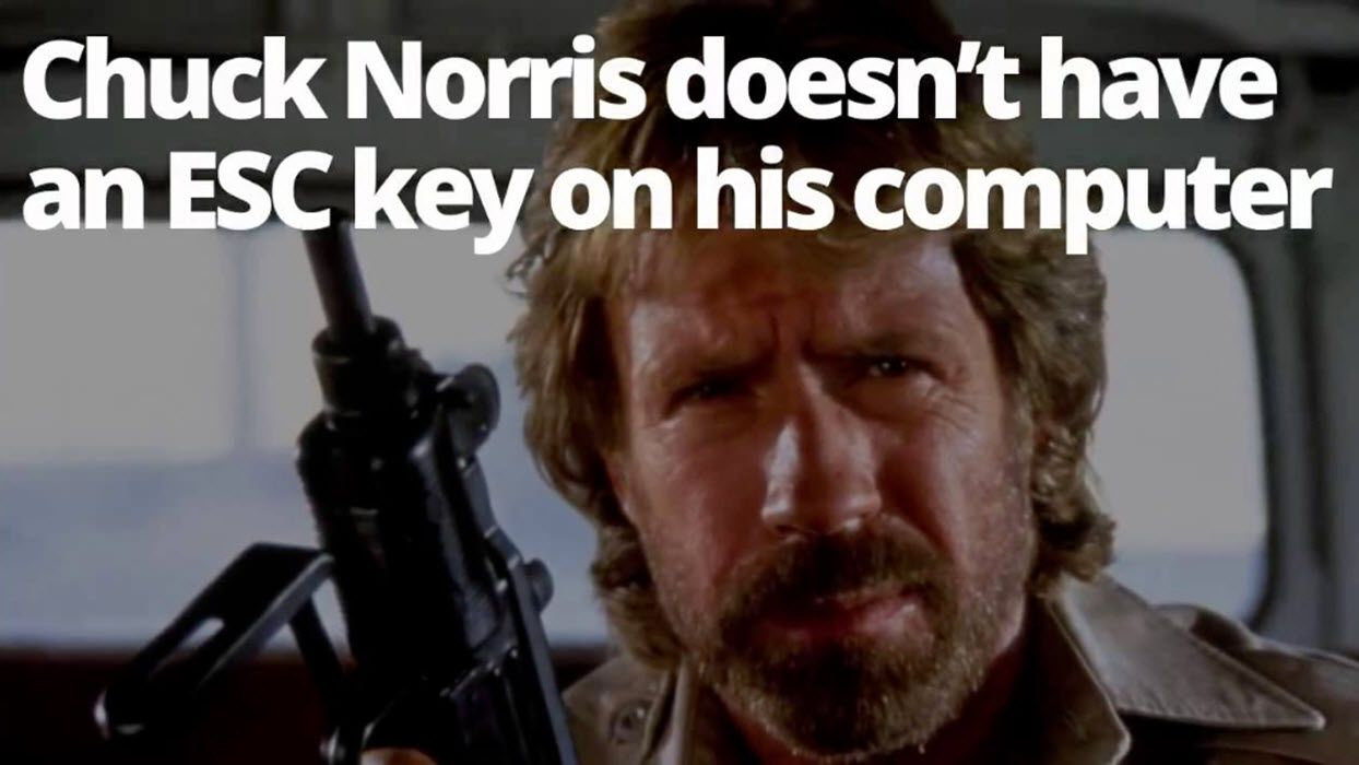 A Chuck Norris meme featuring Norris holding a weapon