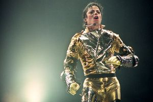 Michael Jackson performs on stage during his