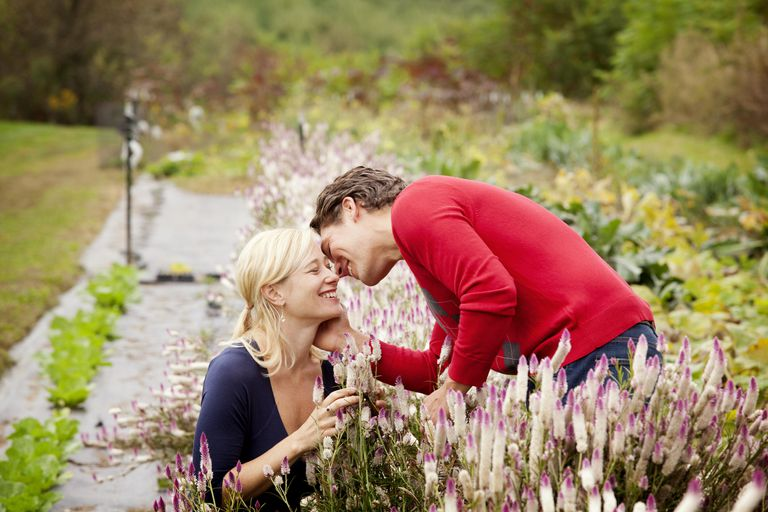 Couple Kissing and Picking Flowers