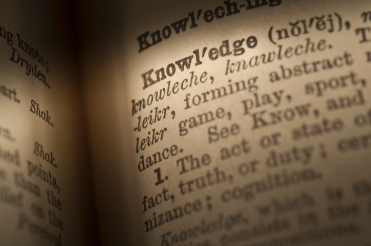 "page of a dictionary with an entry for ""knowledge"" highlighted."