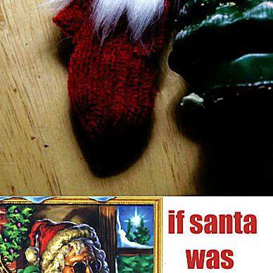 A Santa Claus ornament that resembles Jerry Garcia