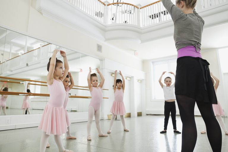 Female ballet instructor teaching children in ballet studio