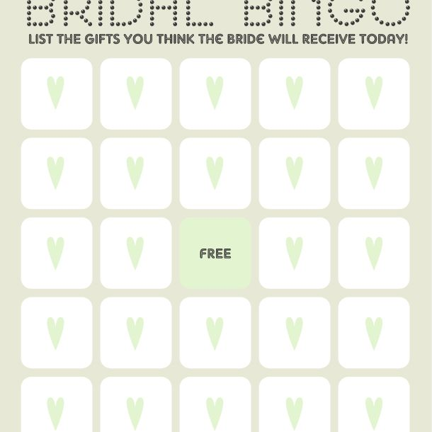 A gray and white bridal shower bingo card