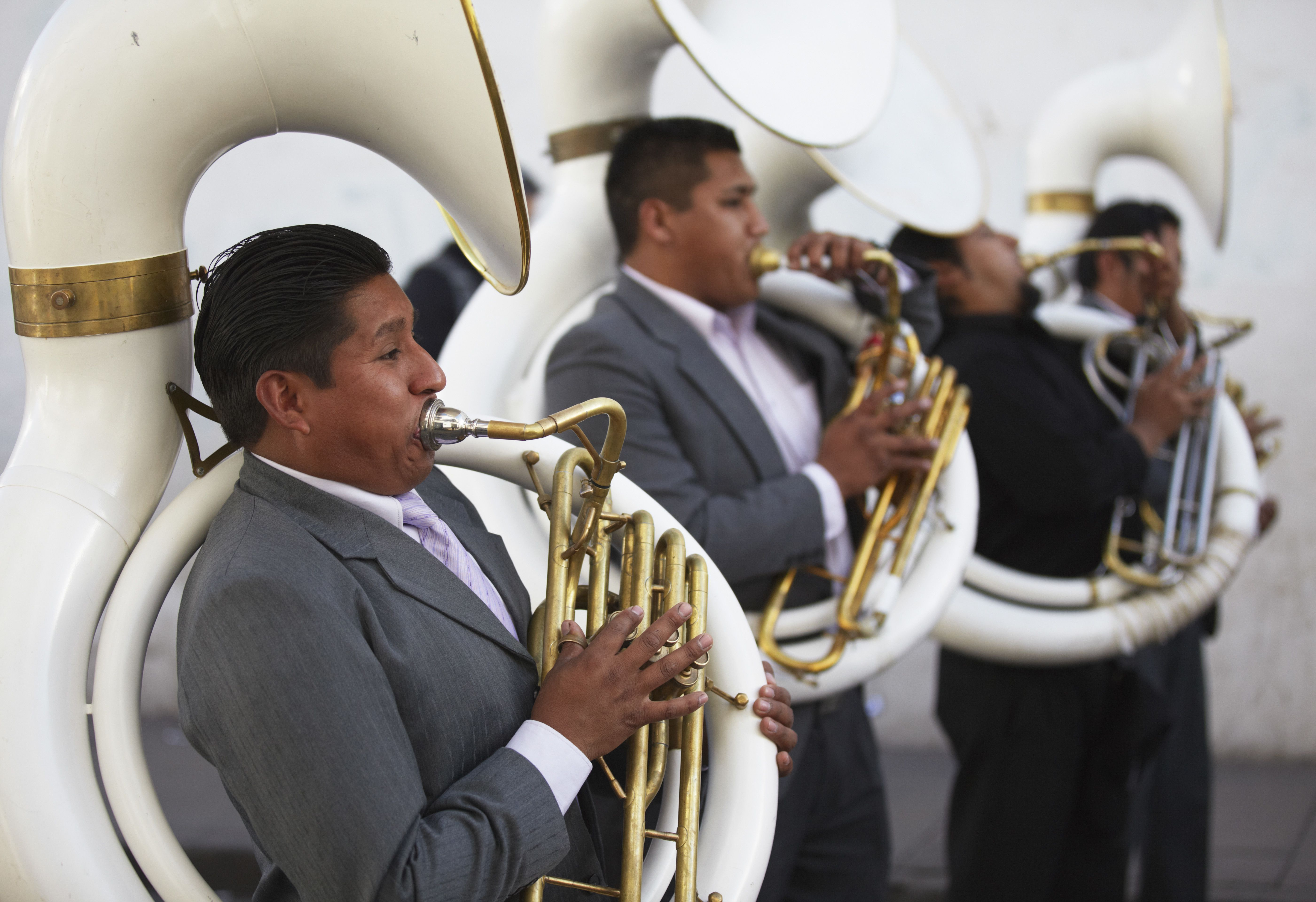 Men playing tubas in festival, Sucre (UNESCO World Heritage Site), Bolivia