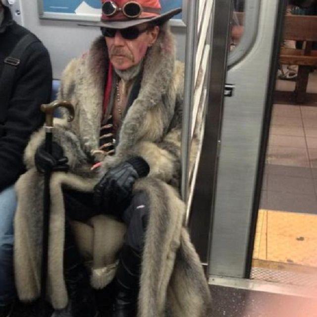 funky man on subway
