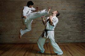 2 men practicing karate