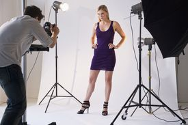 Fashion model posing for a photo shoot scheduled by an agency she works with.