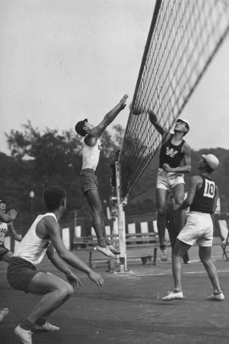 circa 1938: The volleyball match between Waseda and Keio Universities to decide the winner of the Kanto School Volley League Championship, Japan.