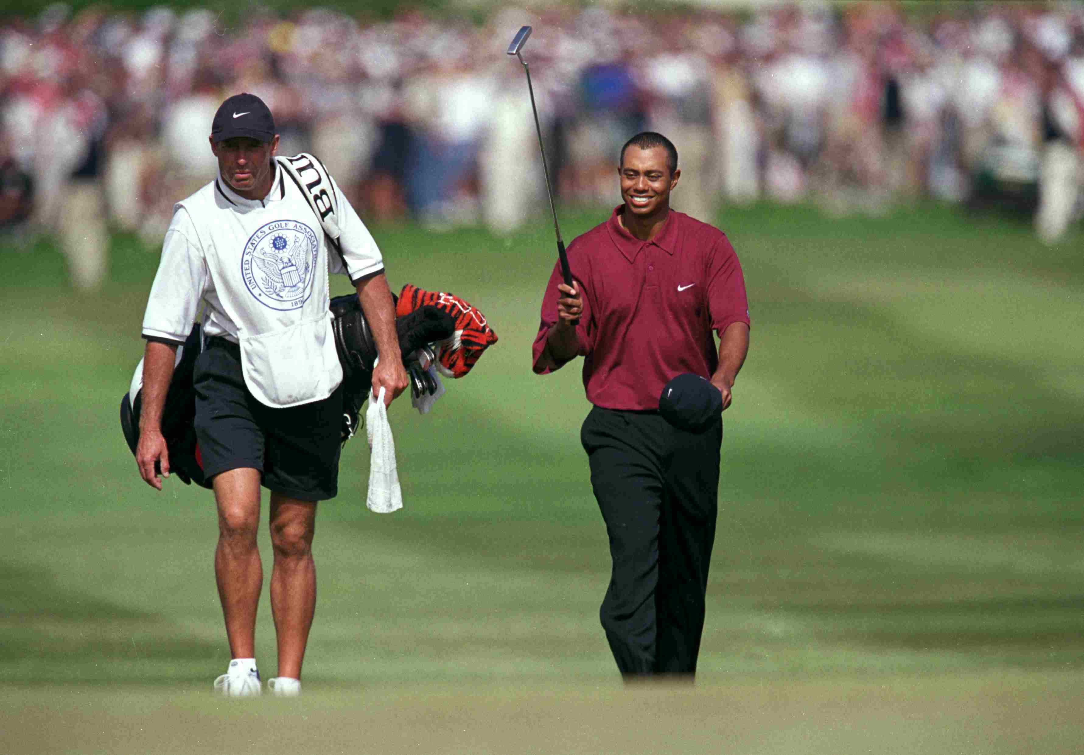 Tiger Woods with caddie Steve Williams at the 2000 US Open tournament.
