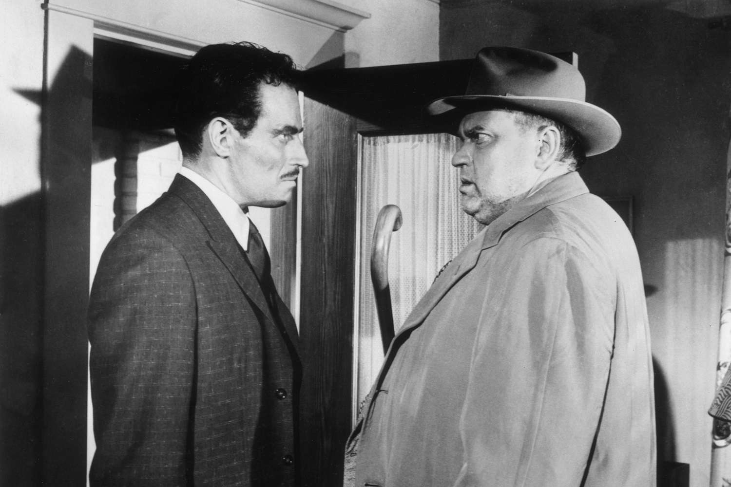 Actors Charlton Heston and Orson Welles in the 1958 film 'Touch of Evil'