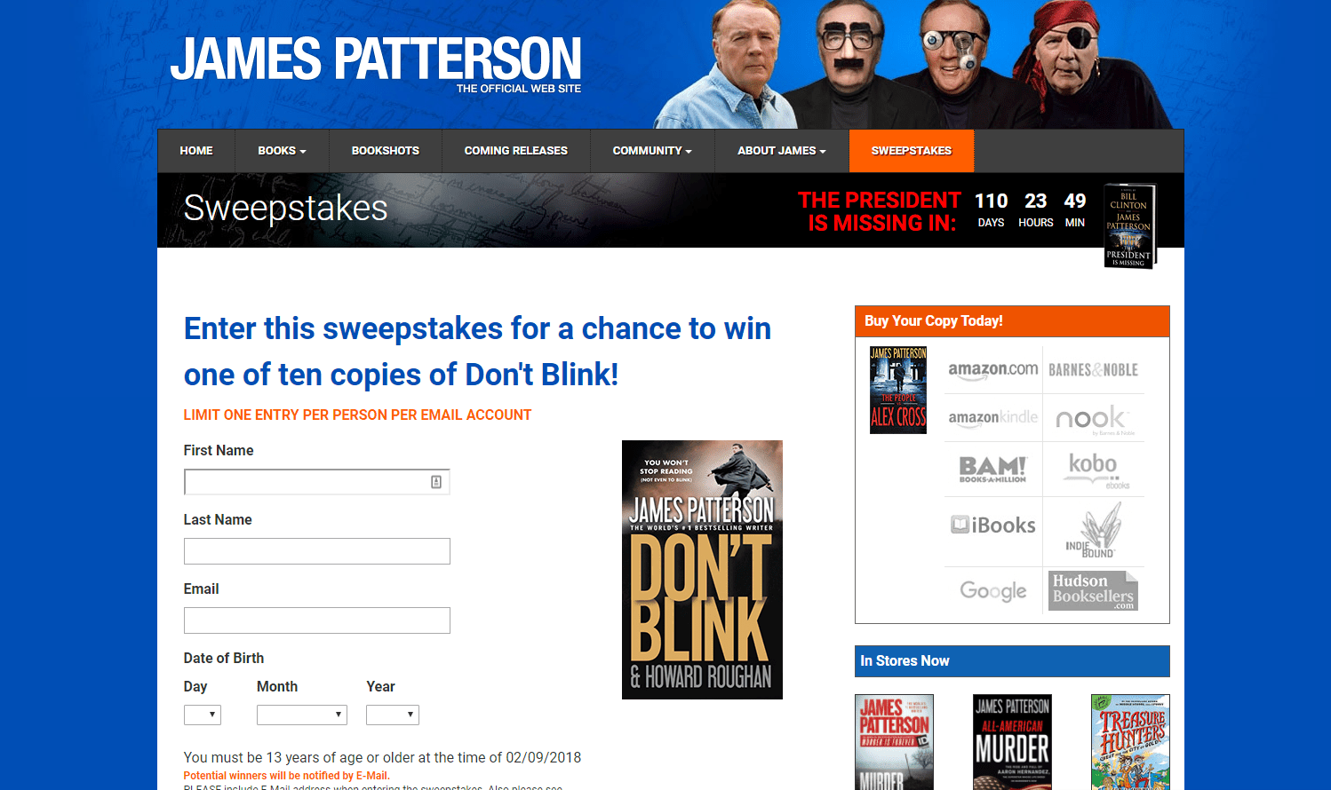 Screenshot of James Patterson's Giveaway Page
