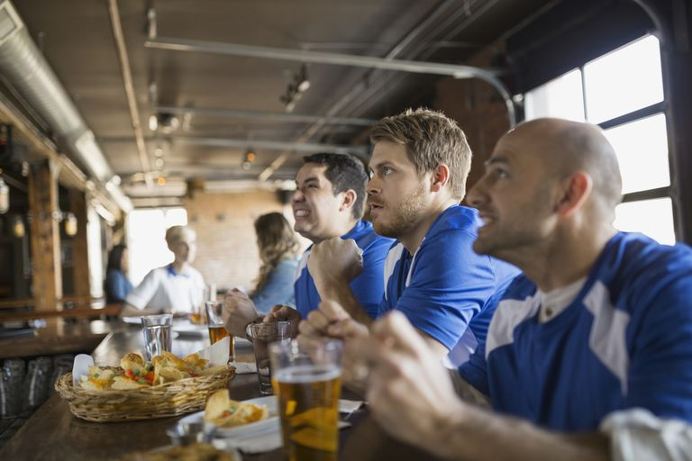 Sports fan in a bar