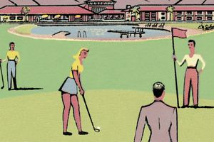 Illustration showing golfers on a putting green