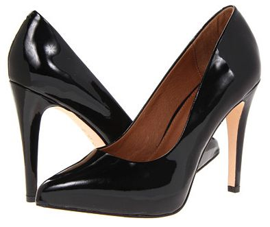 Black high-heeled pumps with patent leather uppers.