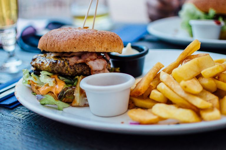 Plate of hamburger and french fries