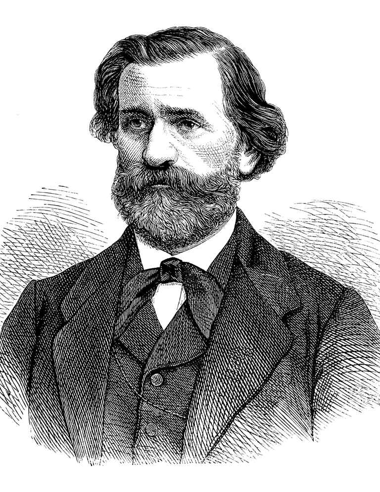 Engraving of composer Guiseppe Verdi from 1870