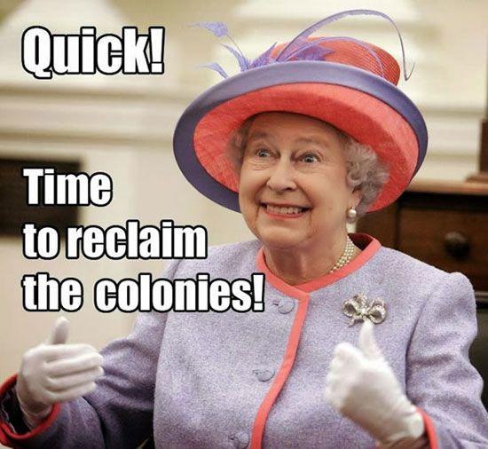 Queen Elizabeth Reclaims American Colonies During Shutdown