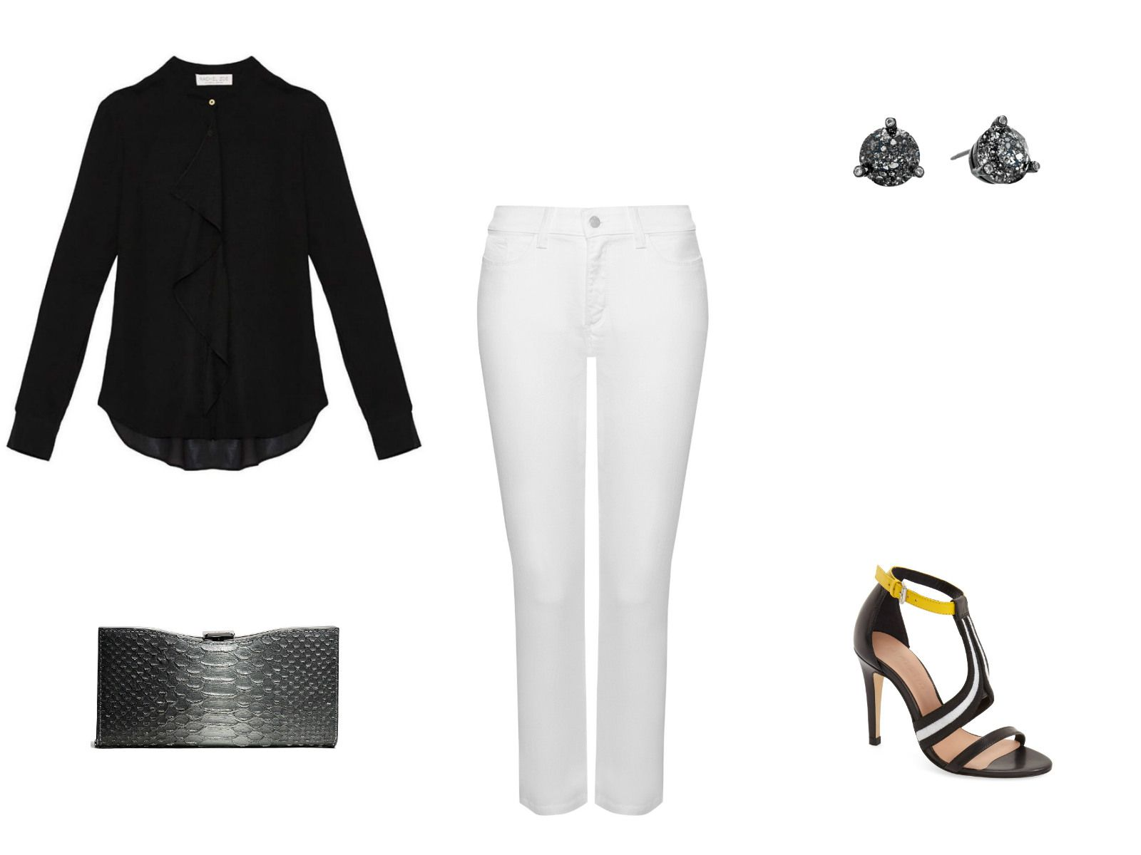 Winter date outfit with white jeans
