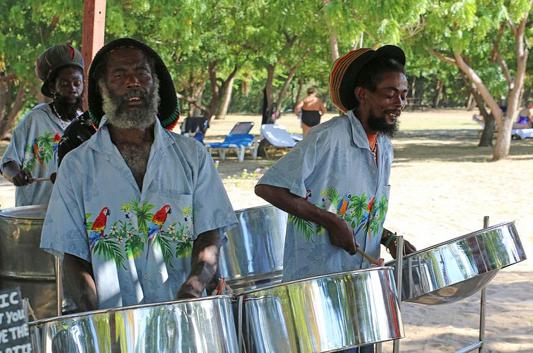 Caribbean steel pan band