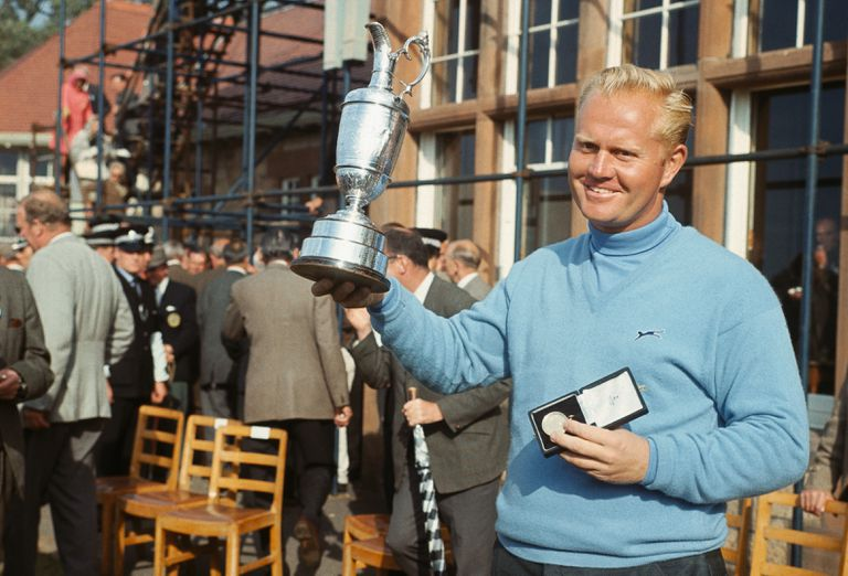 Jack Nicklaus holds the Claret Jug after winning the 1966 British Open.