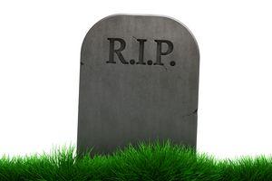 A gravestone that says R.I.P.