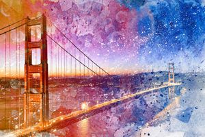 Golden Dawn Bridge - Vibrant Acrylic Infusion