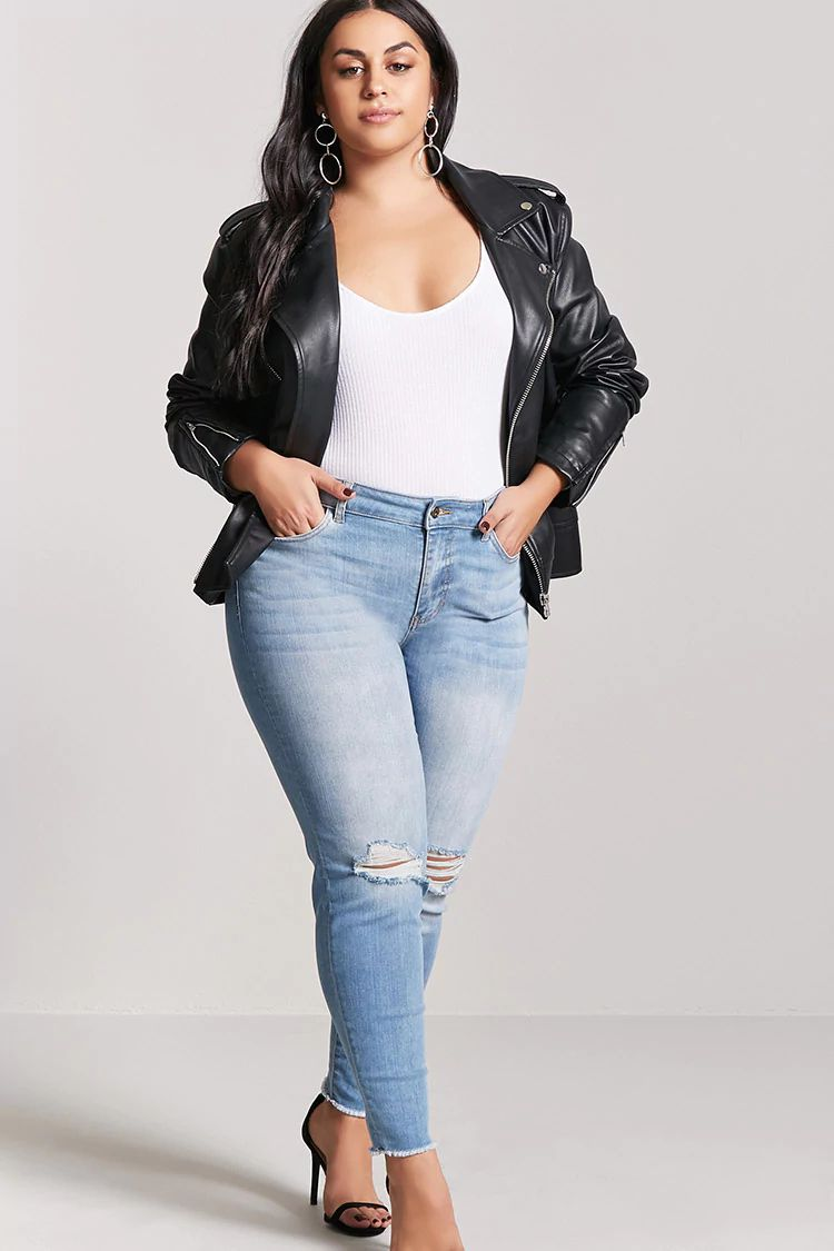 Woman in plus size skinny jeans