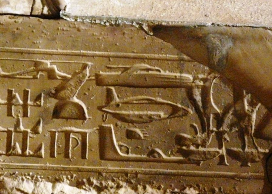 Ancient Egyptian heiroglyphs that appeat to show modern aircraft.