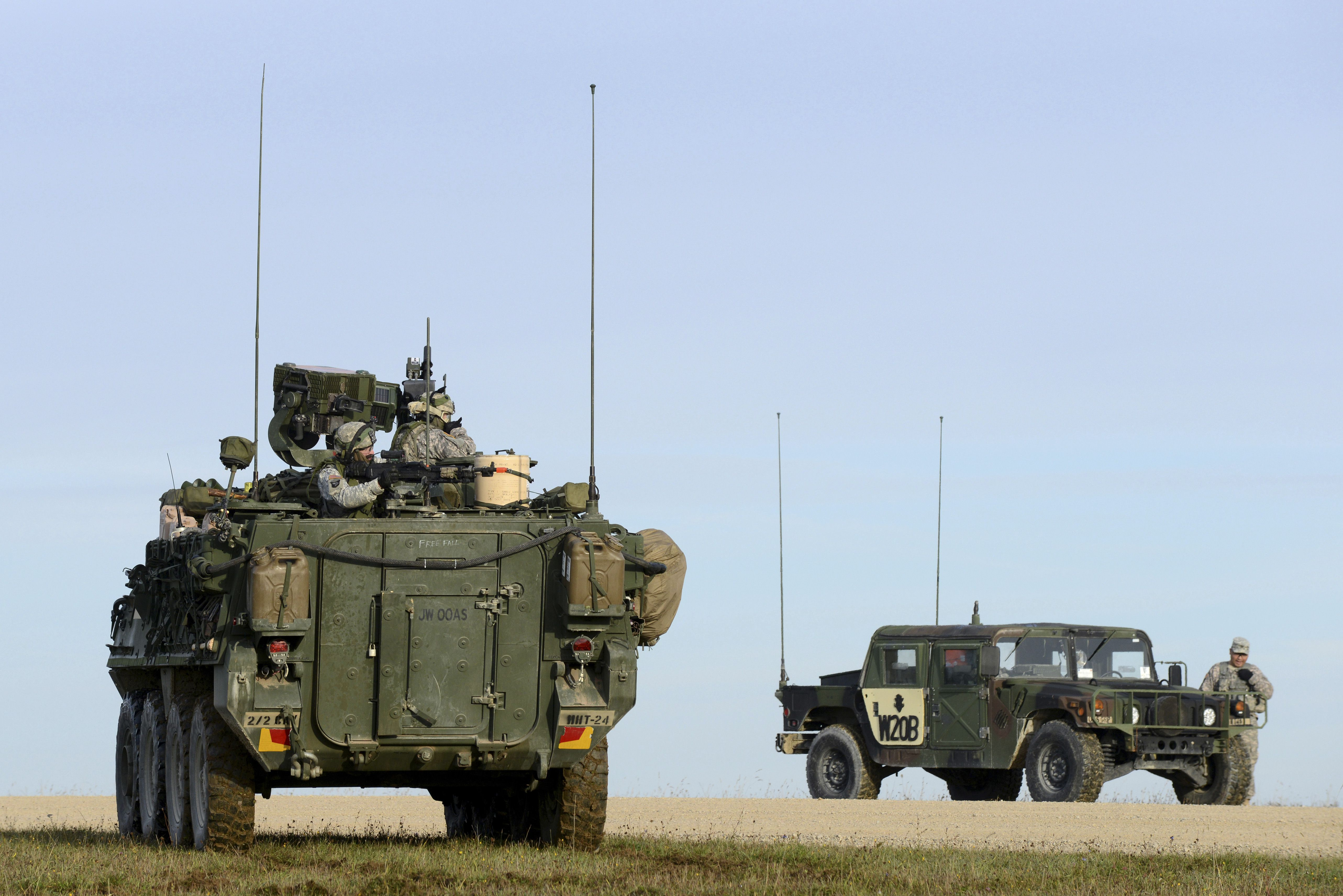 U.S. Army Europe Stryker soldiers aim at targets at the Grafenwoehr Training Area.