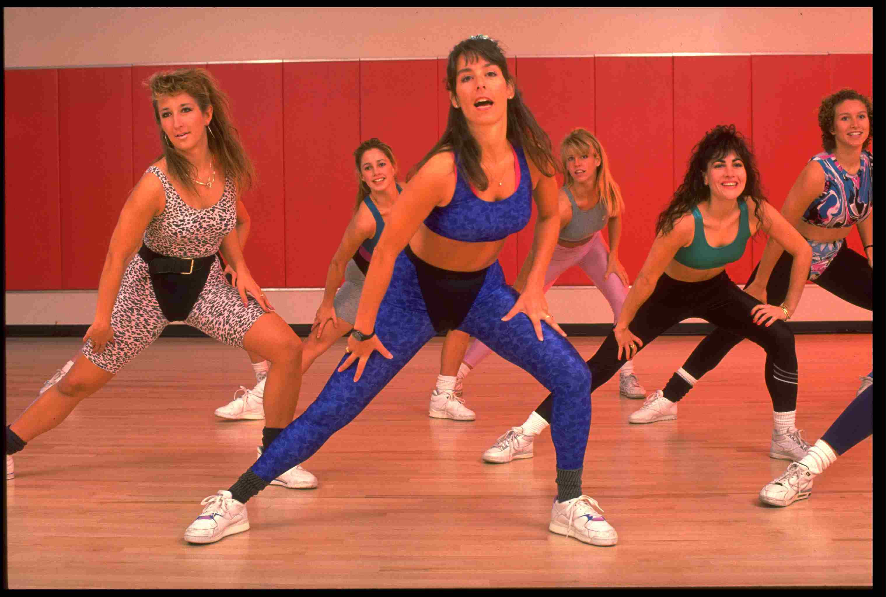 Aerobics class in a lunge 1980s