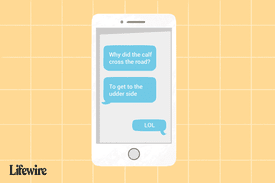 An illustration of 'LOL' used in a conversation on a mobile phone.